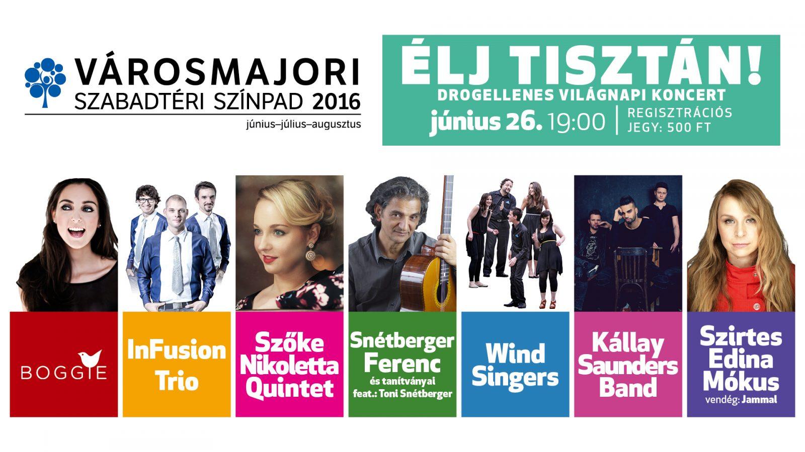 Élj tisztán! – Drogellenes világnapi koncert és családi nap a Városmajorban