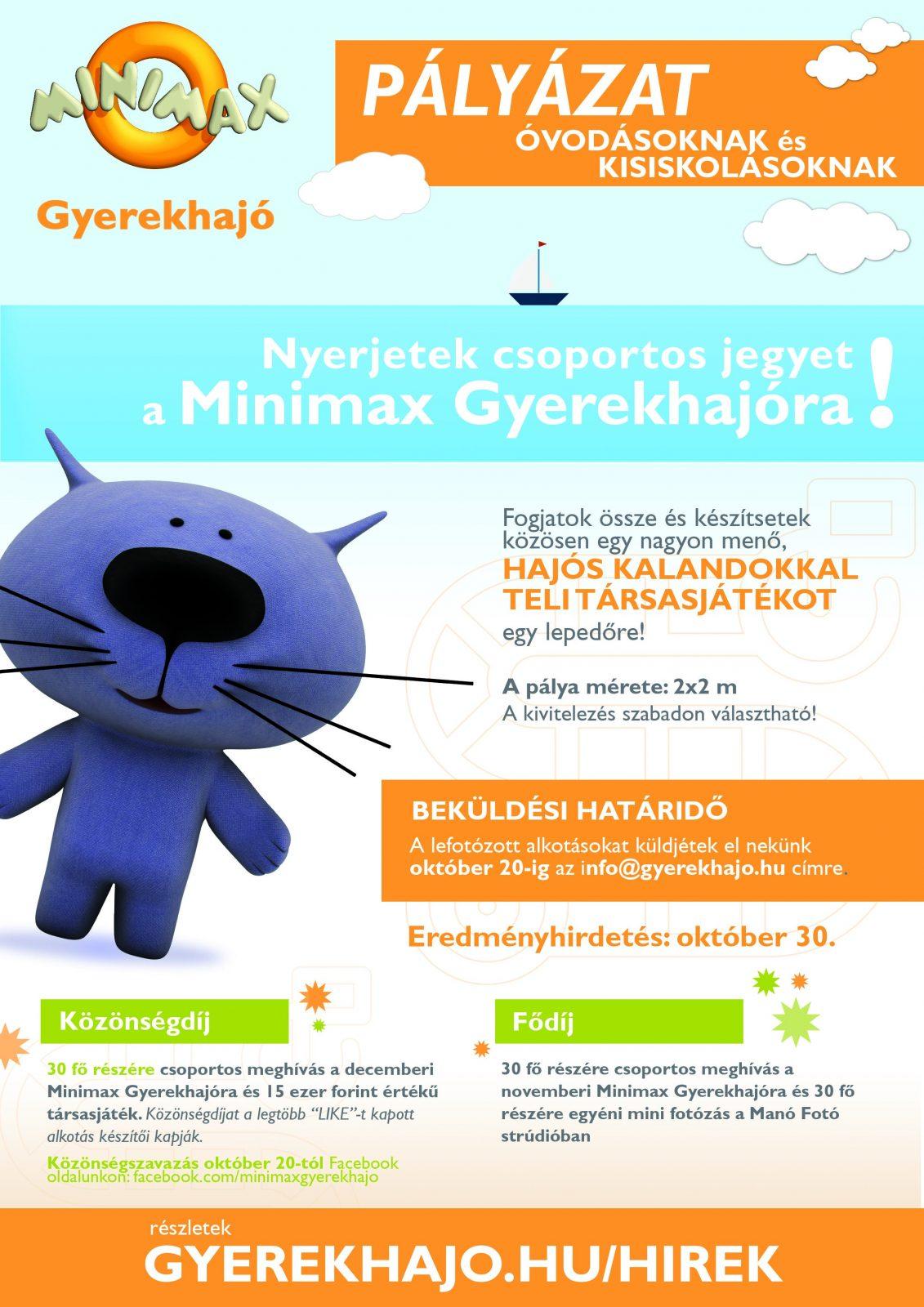 Készíts kalandos társasjátékot és nyerj Minimax Gyerekhajó kirándulást! – PÁLYÁZAT
