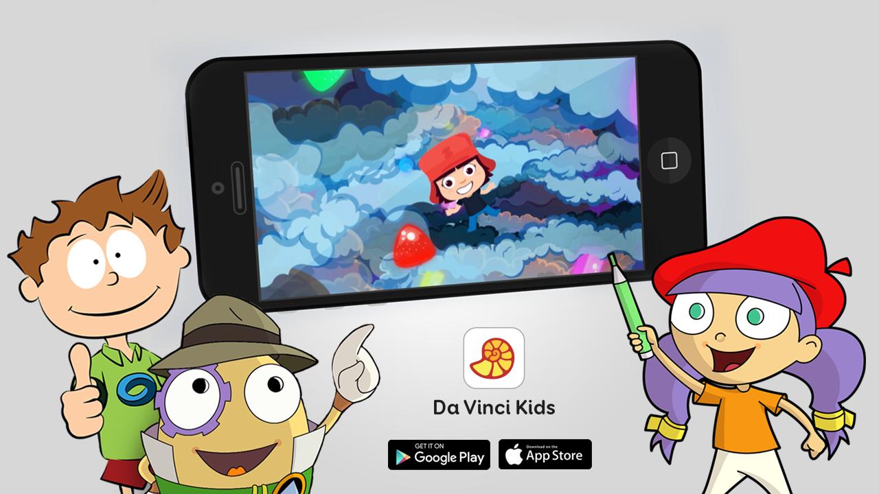 mobiltelefon és mesefigurák - Da Vinci Kids applikáció
