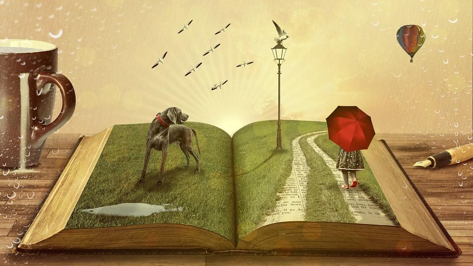 könyv kutyával és esernyős lánnyal
