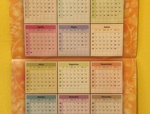 2018-as naptár