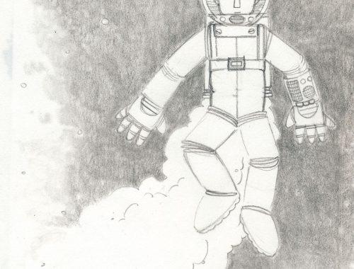 rajz egy asztronautáról