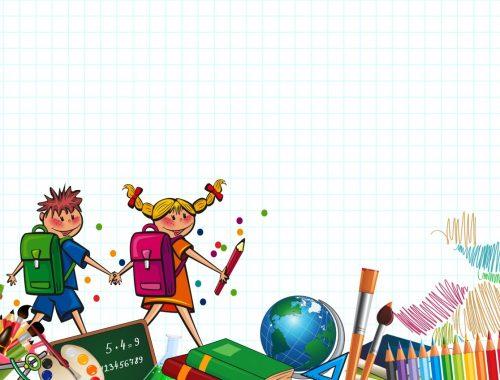 rajz egy fiúról és lányról iskolatáskával