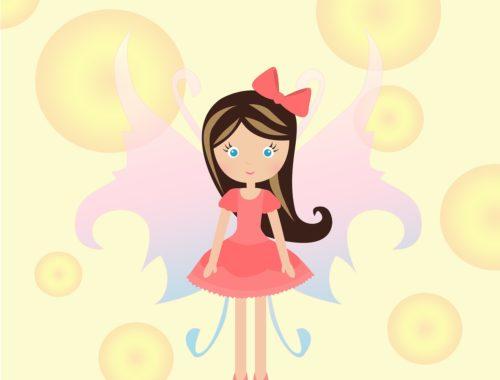 rajz egy rózsaszín ruhás kislányról