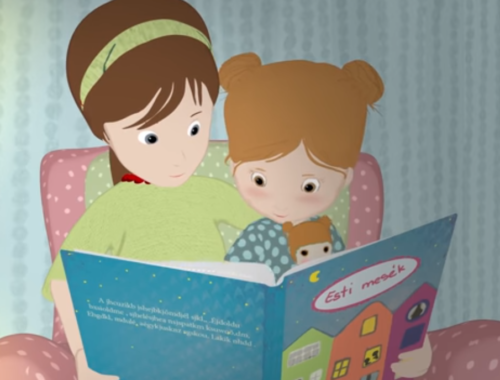 mesét olvasó gyerek anyukával, rajz
