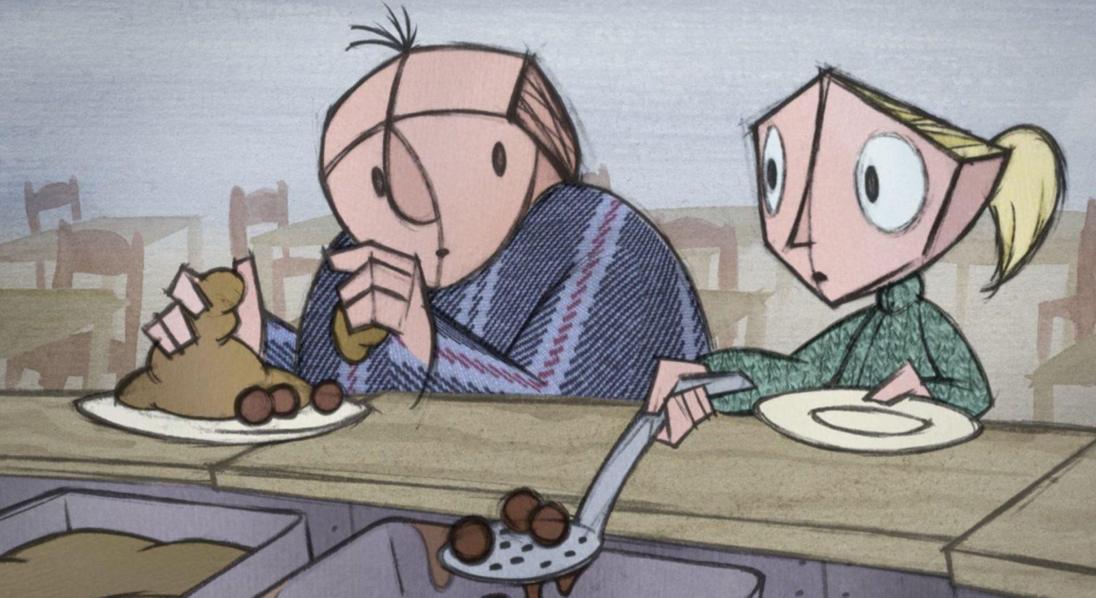 rajz, két ember eszik