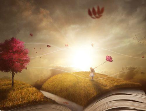 fantasy, mezőn szaladó kislány lufikkal