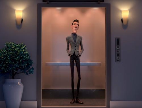 animáció, férfi a liftben