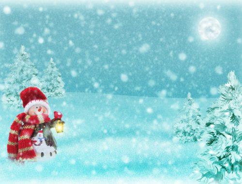 hóember lápást fog a havazásban festmény