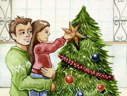 karácsonyfa díszítés apával rajz