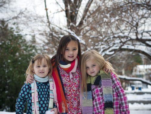 három gyerek télen