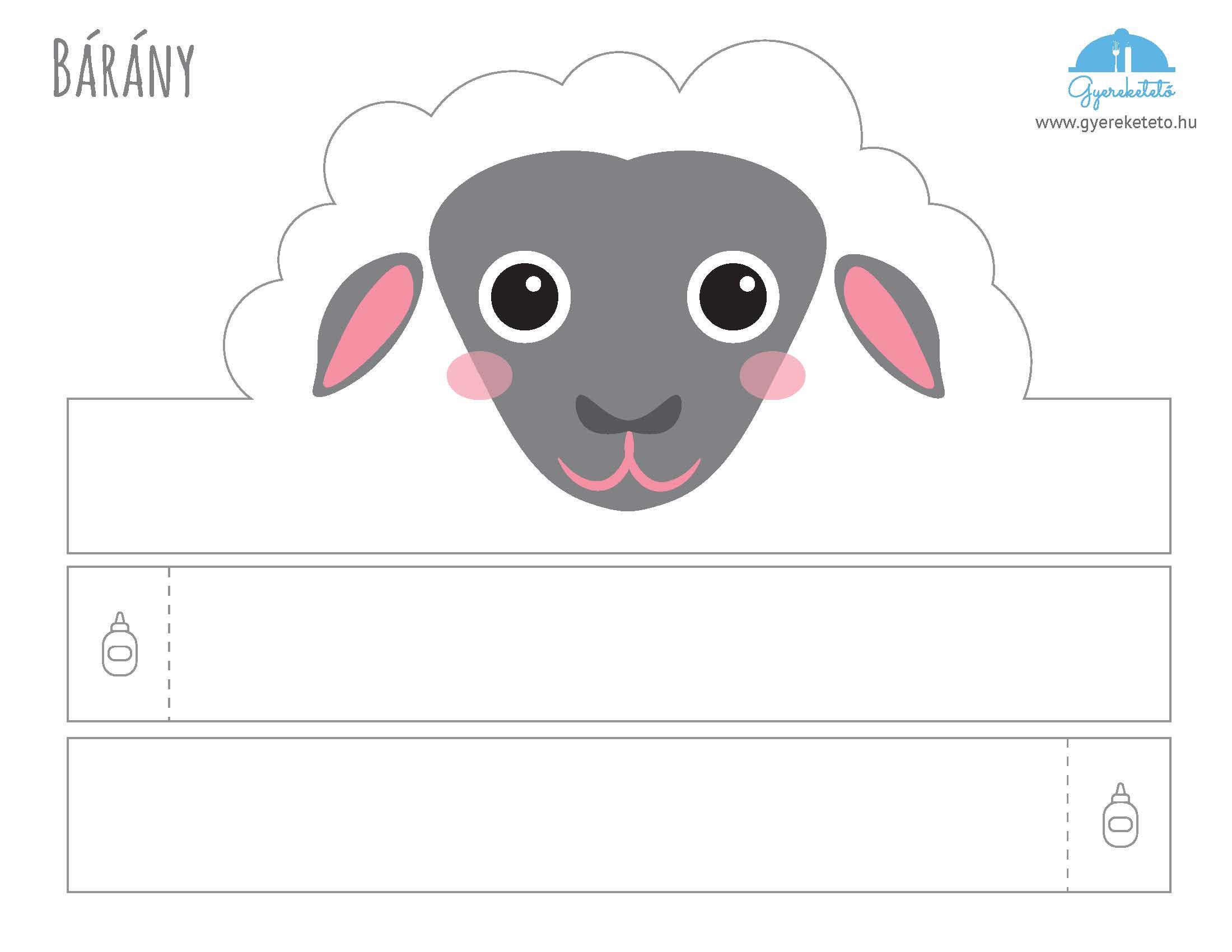 bárány álarc kivágós