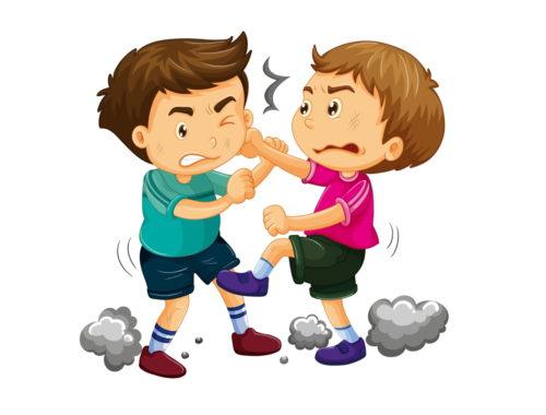 rajz két verekedő fiúról