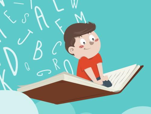 rajz egy fiúról, aki könyvön utazik