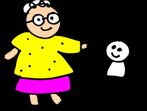 rajz egy nagymamáról és unokájáról