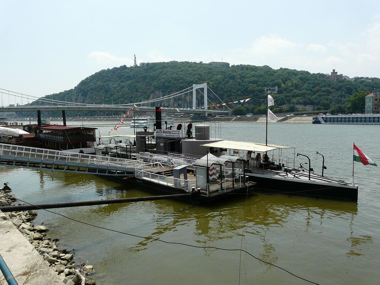 Duna egy kötővel és a Gellért-heggyel a háttérben