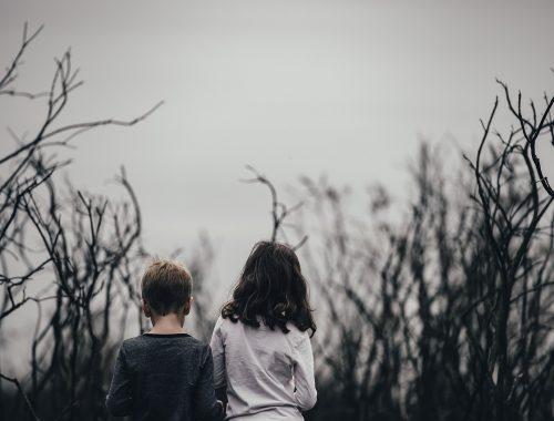 kisfiú és kislány állnak egy erdőben