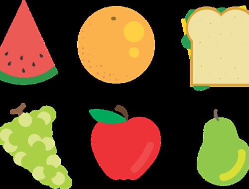 gyümölcsökről és egy szendvicsről rajz