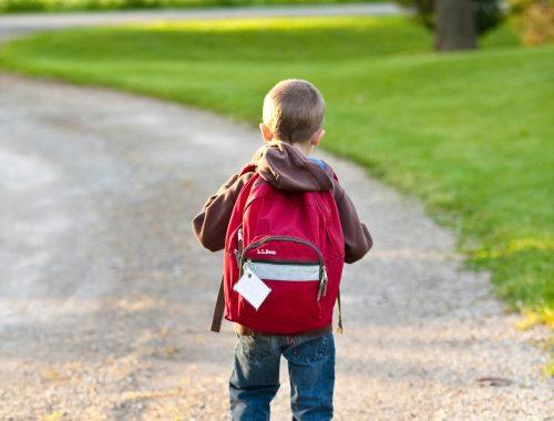 kisfiú hátizsákkal a hátán sétál