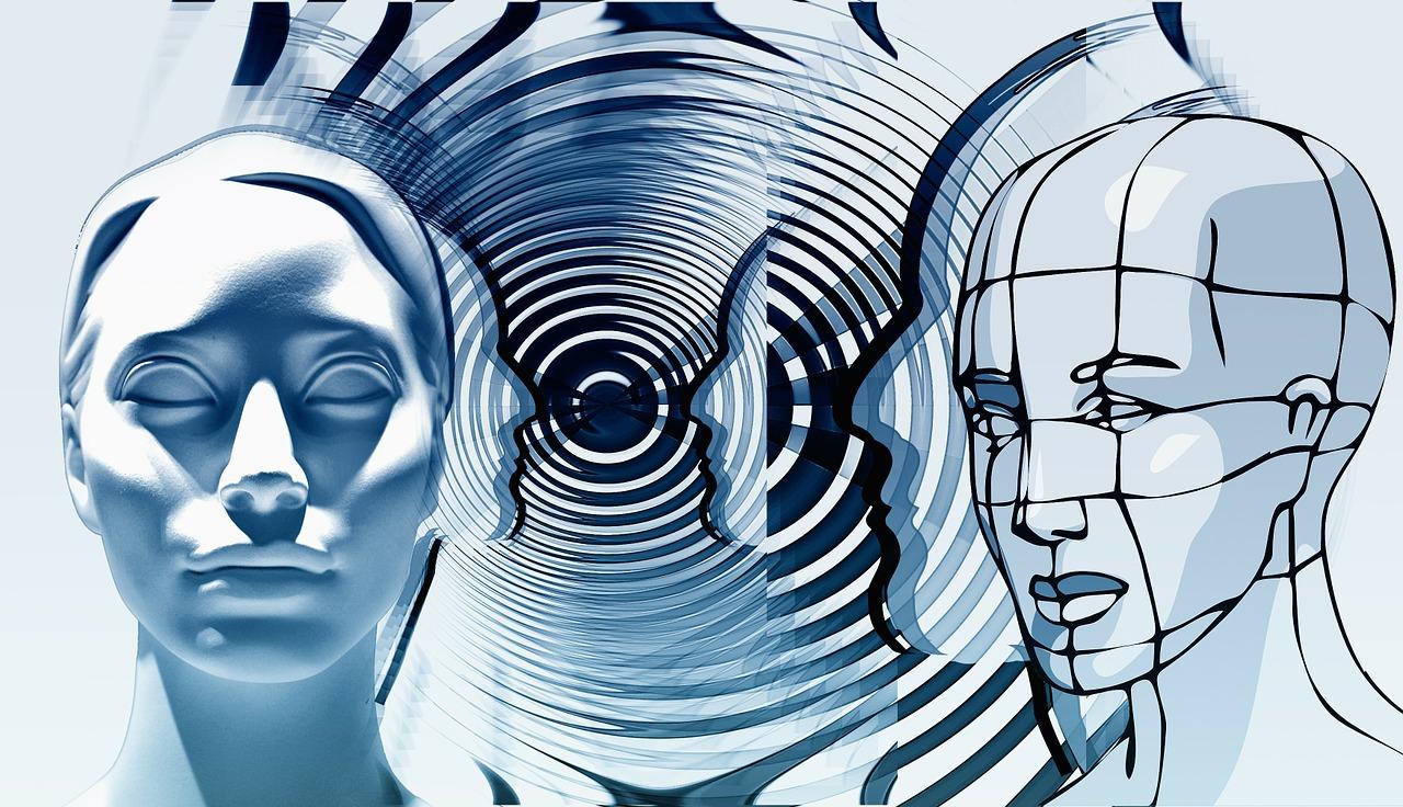 rajz, szobor női arcokról
