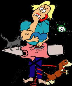 rajz, macska, anyuka vasal, kisbaba