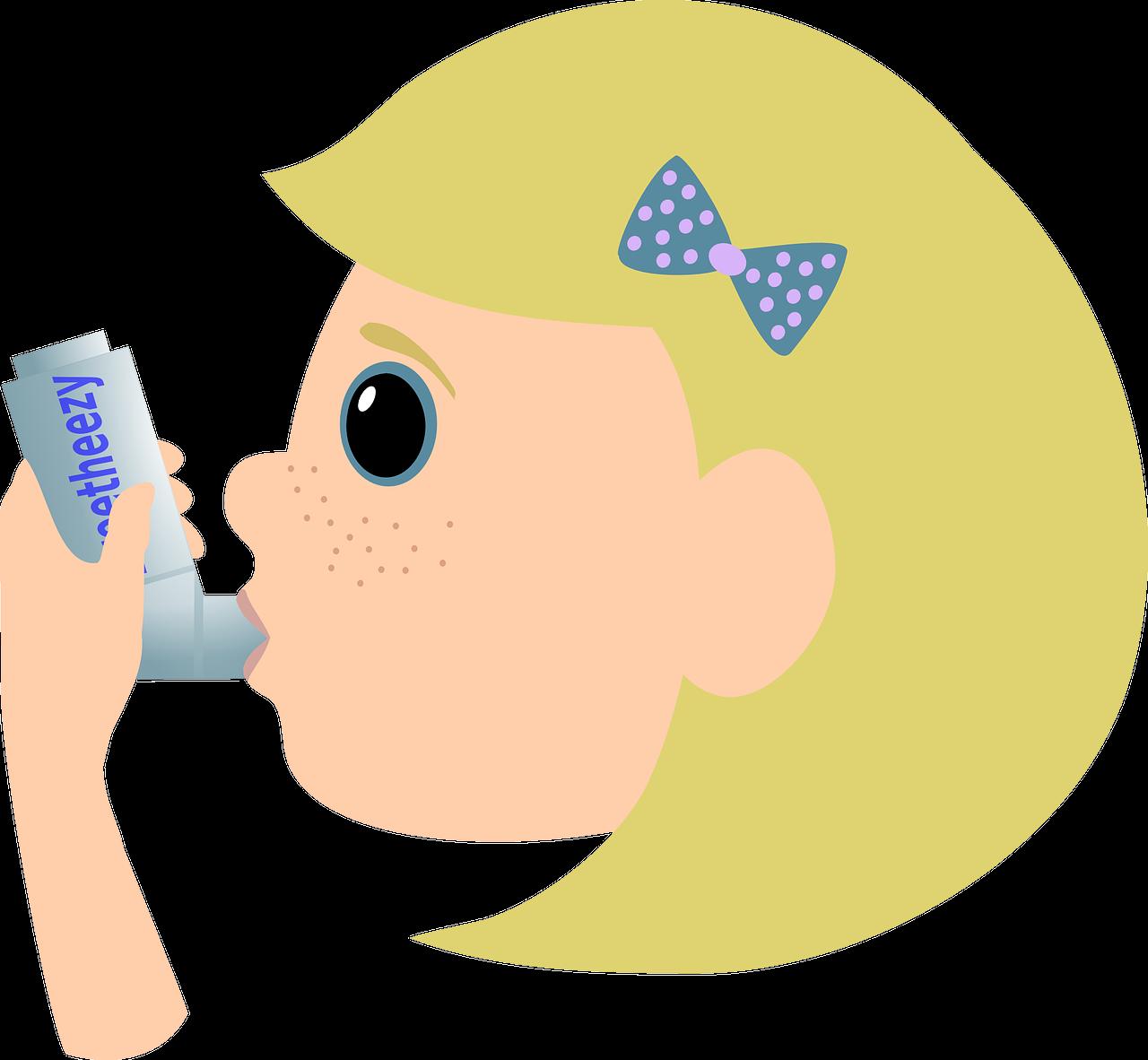 rajz egy szeplős lányról, aki asztmás