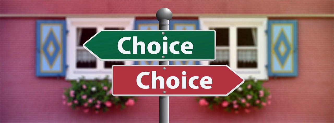 choice feliratú táblák