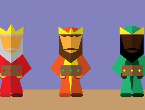 Három királyok karácsonykor.