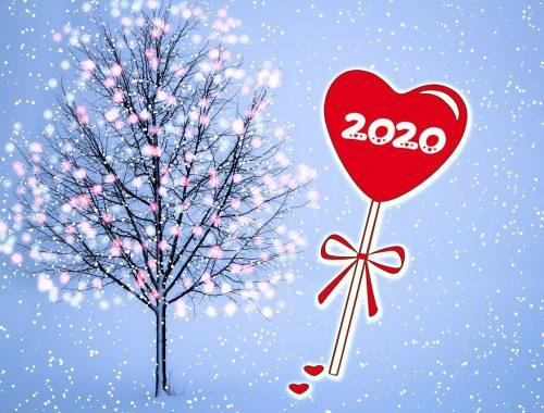 Szilveszteri díszes fa és szív.