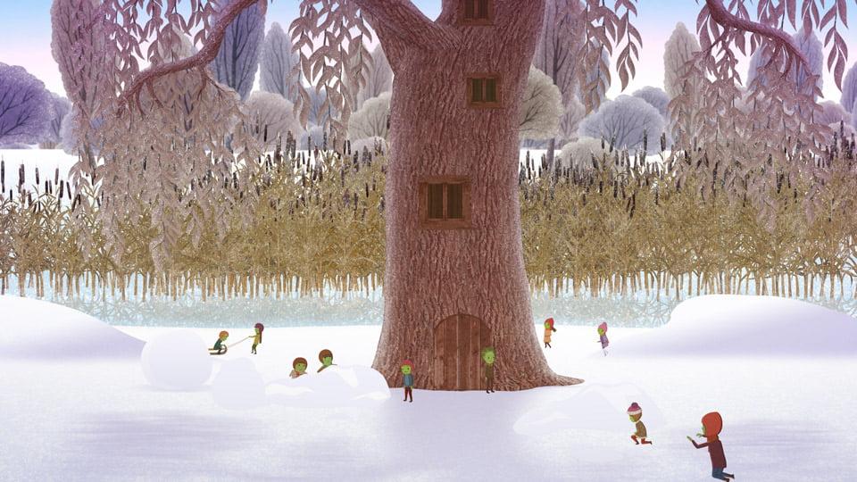 Lengék a fa körül a havas tájon.