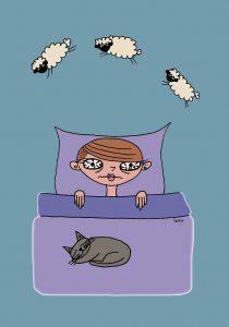 Ágyban fekvő gyerek, aki bárányokat számol, mert nem tud elaludni.