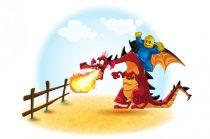tűzokádó sárkány és egy harcos